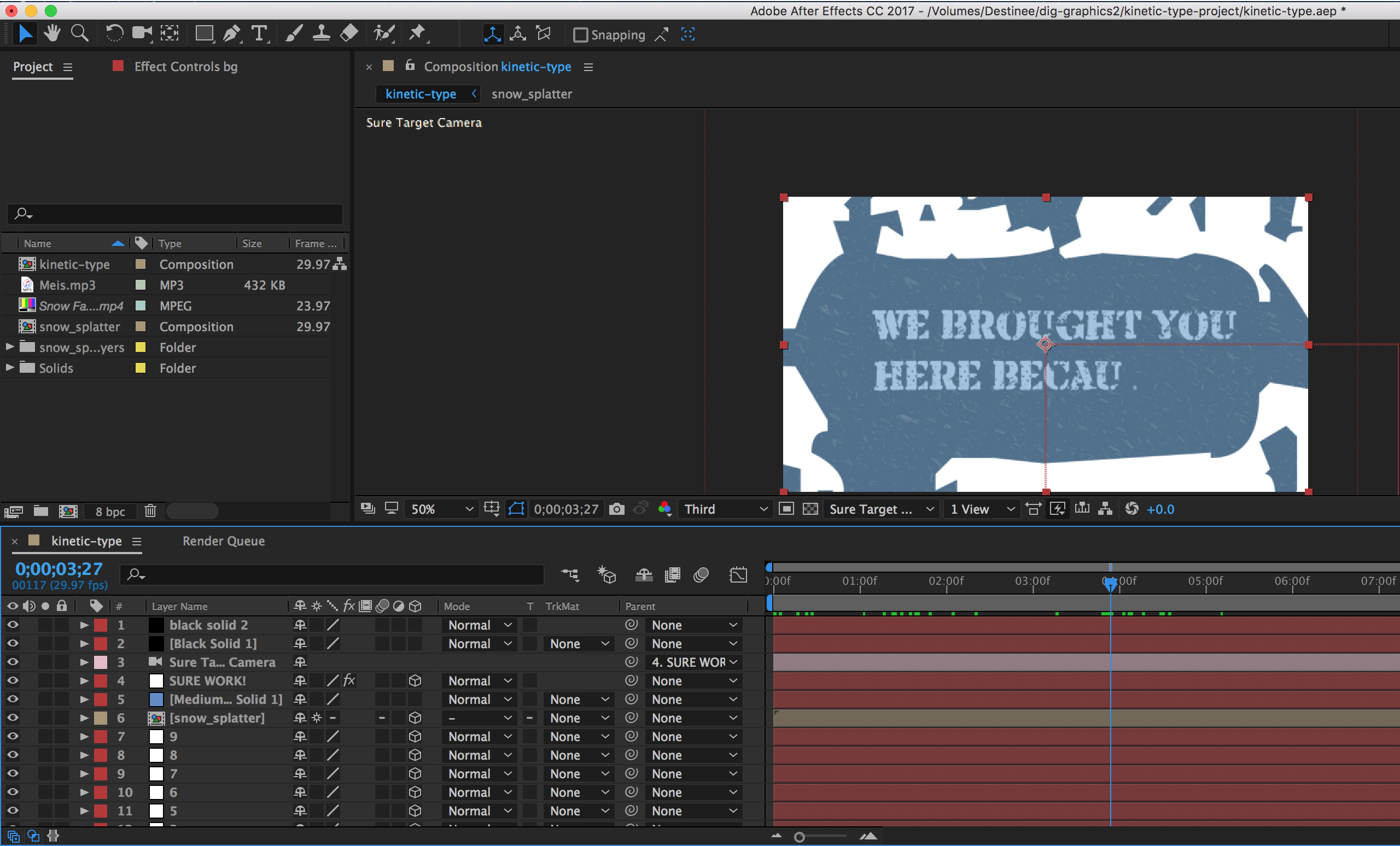 Kinetic type in after effects screenshot